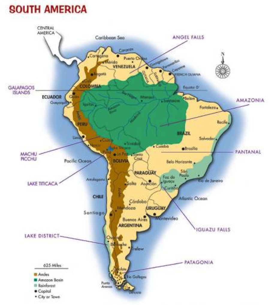 Andes Of South America Map