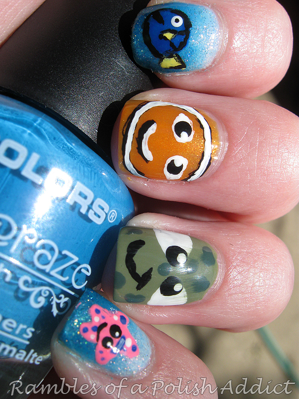 finding nemo nail art disney challenge sinful colors beau khaki cloud 9 cinderella leap flog kissy la colors aquatic