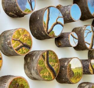 Paisajes Naturales Pintados Sobre Troncos de Madera