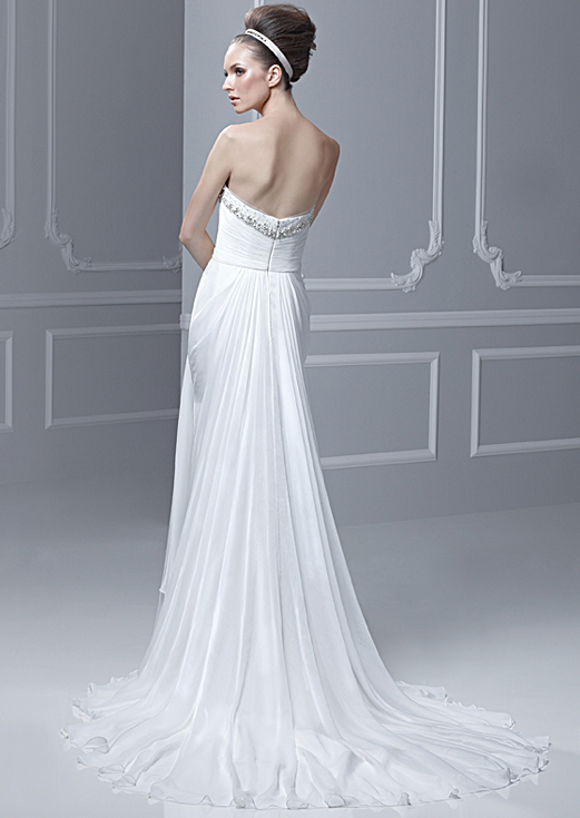Chiffon Strapless Destination Beach Wedding Dress