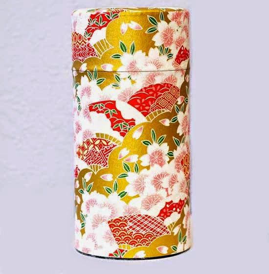 Sakura Washi Tea Canister - Japanese Tea Tin