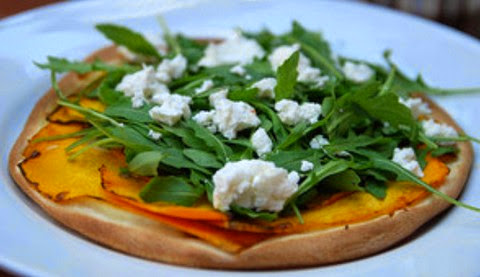 Roasted Pumpkin Pizza with Pine Nuts and Goat Cheese