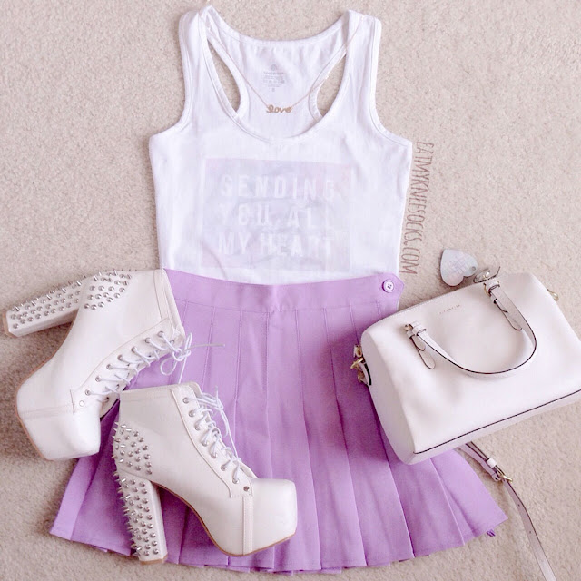 A cute, pastel-grunge outfit with my custom-print Snapmade tank top, custom-designed Snapmade heart keychain, American Apparel dupe lilac tennis skirt from Miuxin, white spiked Jeffrey Campbell Lita dupes, a Be Happy Live Pink necklace, and a Coach purse.