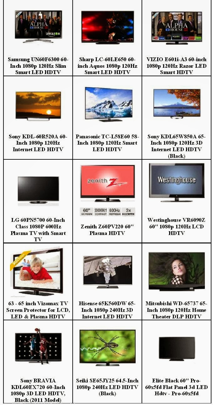Best LED HDTVs Display Size 60 to 69 Inches