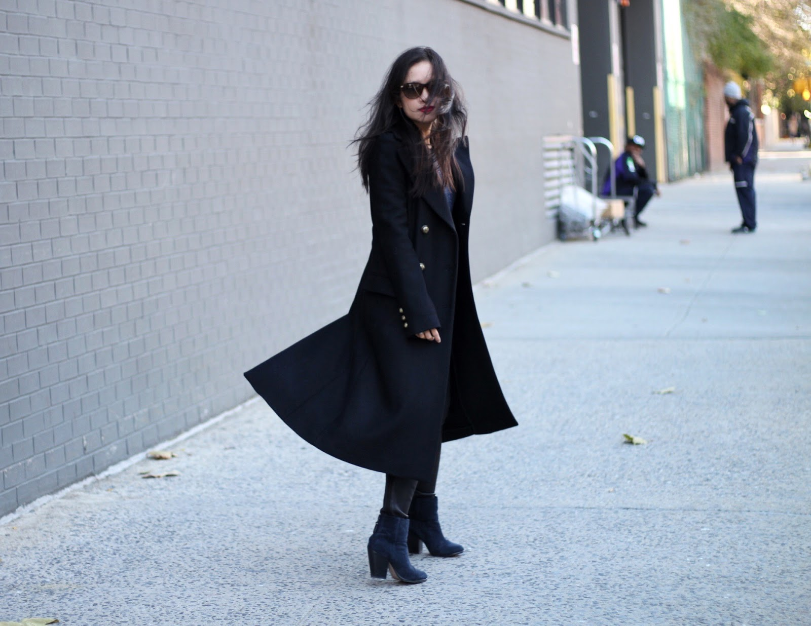 Military coat Rag & Bone sweater J Brand leather pants Newbury booties Emily Cho mini tote