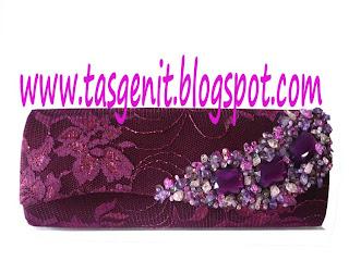 tas pesta clutch bag brokat ungu dompet pesta kondangan