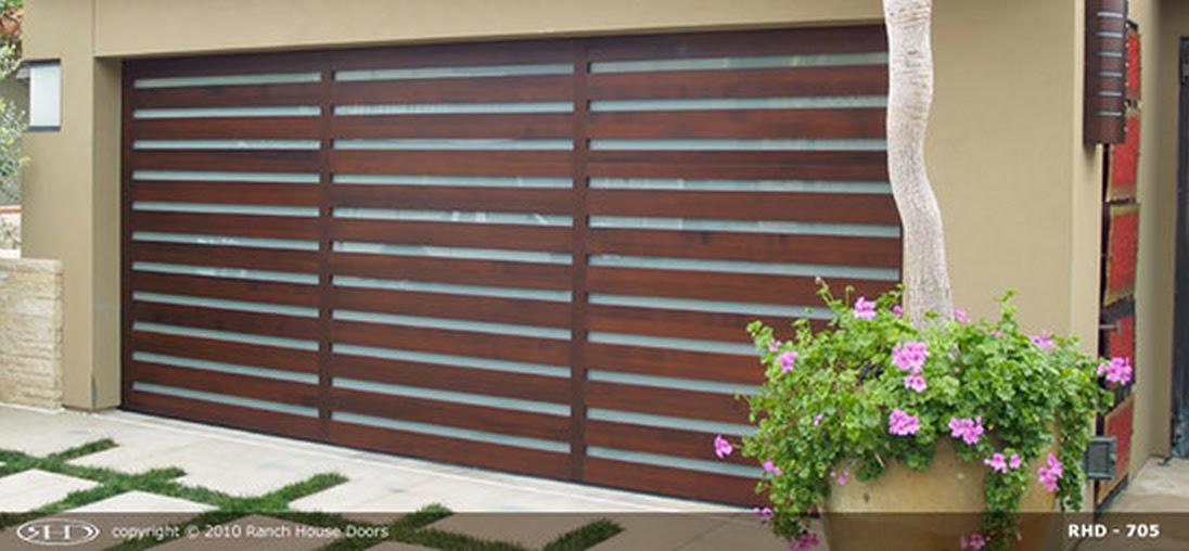modern wood garage door. simplistic but elegant modern design! ranch house door\u0027s model 705 made of real wood with plexiglass backing. garage door