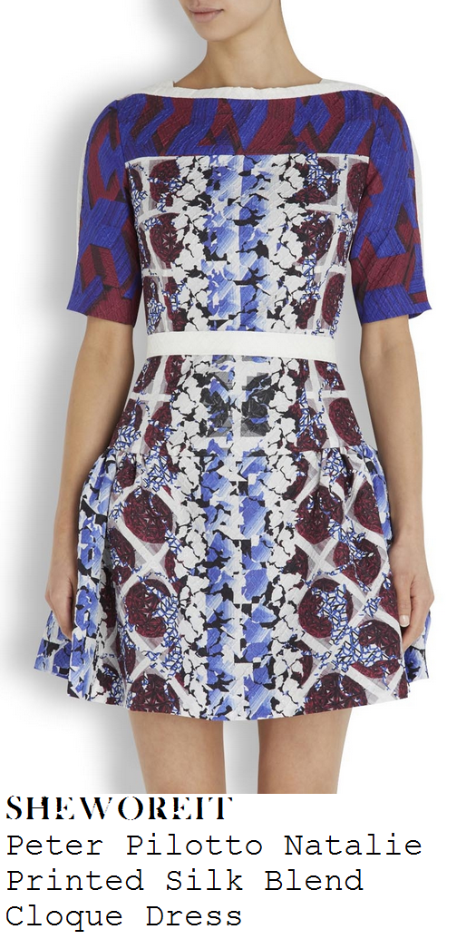 lucy-mecklenburgh-blue-burgundy-abstract-print-half-sleeve-fit-and-flare-skater-dress-union-j-perfume-launch