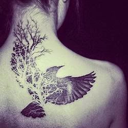 ♥ ♫ ♥ B&W, inked, back tattoo, tattooed, crow, wings, tree ♥ ♫ ♥