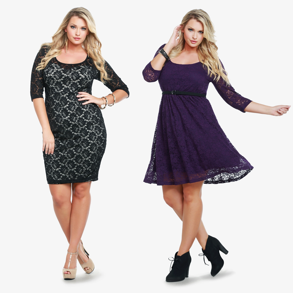 Torrid black lace body con dress and fit n flare purple lacy dress