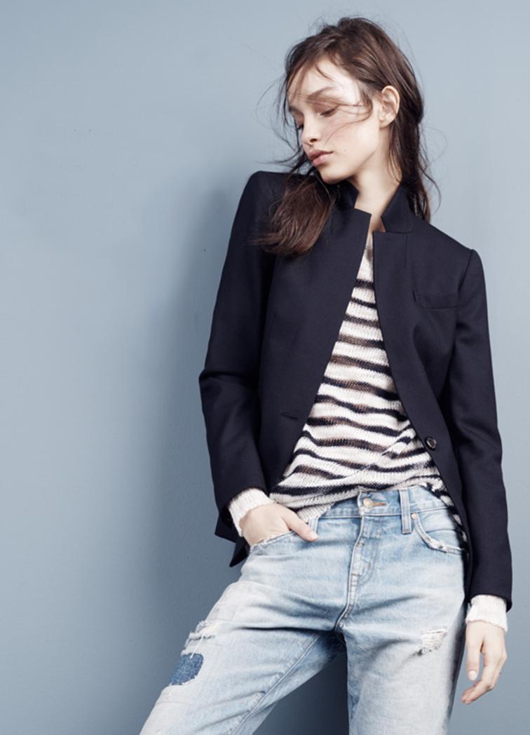 Luma Grothe in JCrew, striped sweater, look book