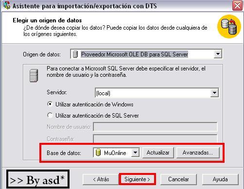 Seleccionando base de datos de la que se exportarán los datos