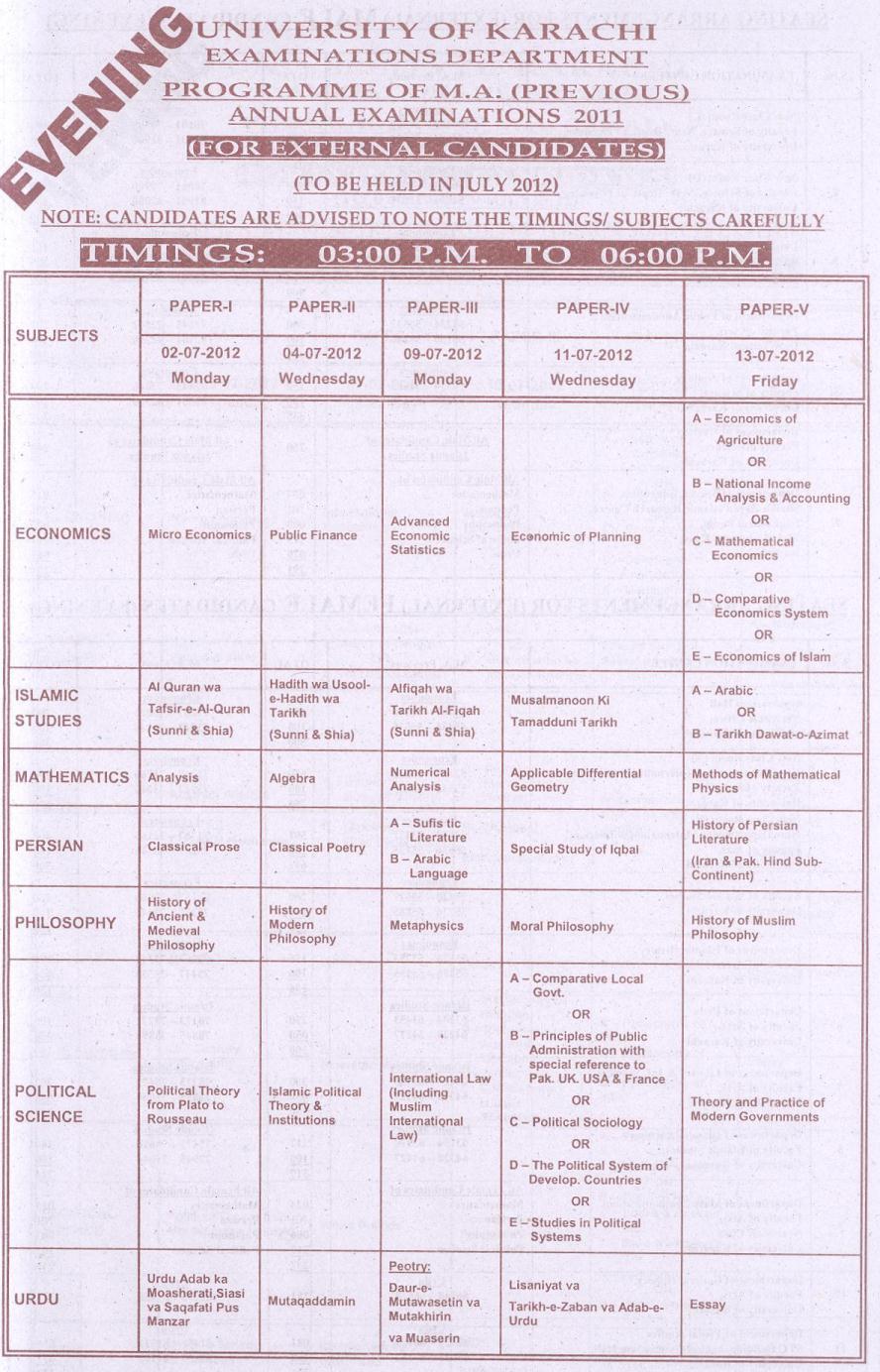 date sheet ma economics external 2011 examination. Black Bedroom Furniture Sets. Home Design Ideas
