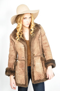 Vintage 1970's brown bohemian style shearling coat.