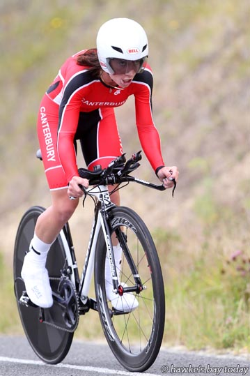 Sharlotte Lucas, Canterbury, third place, elite female time trial, on Puketapu Rd - Elite Road National Championships, part of the Summer Cycling Carnival in Napier. photograph