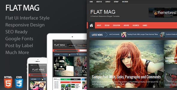 Flat Mag - Responsive Magazine Blogger Template - Blogging