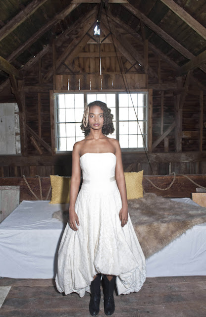 Vintage Rustic Farm Wedding Catskills bride portrait in barn