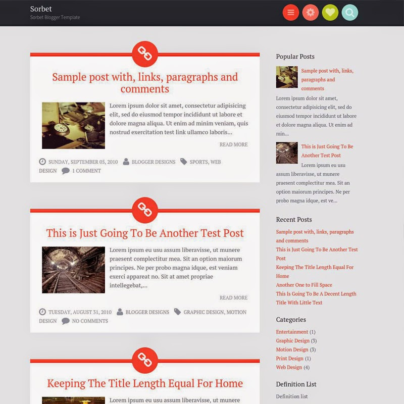 Sorbet Free Responsive Blogger Templates