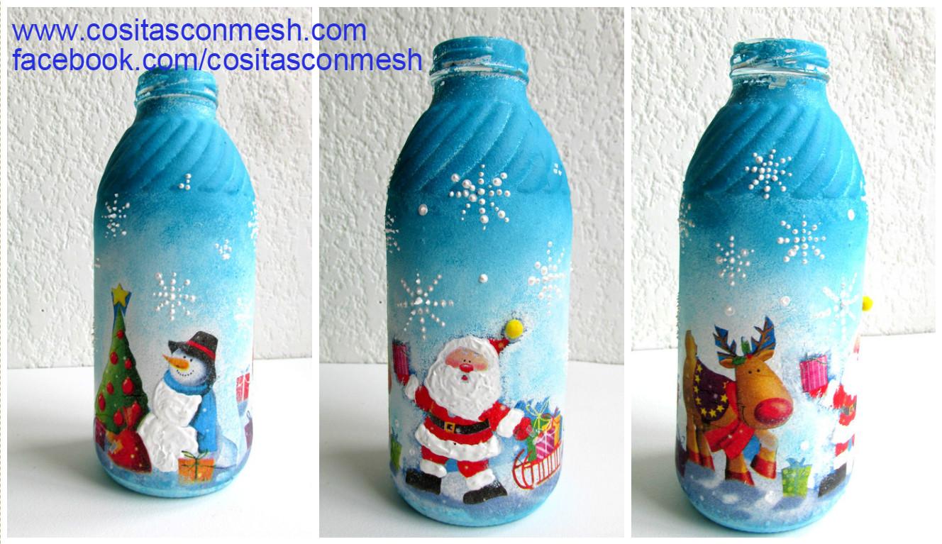 C mo decorar de manera f cil botellas para navidad cositasconmesh - Botellas decoradas navidenas ...