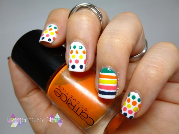 Nail Art Lunares y líneas de colores. Reto #DIASDEVERANO. Hagamos Nails