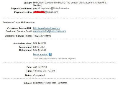 Bukti Pembayaran BidVertiser Agustus 2013