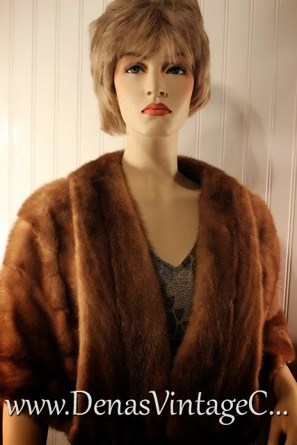 Vintage 50S Dark Blonde Mink Stole Shawl Wrap Capelet
