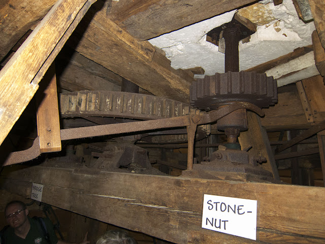 Keston Windmill.  The lever for engaging the gears.  Metal gears against wood, to avoid sparks.  31 August 2012.