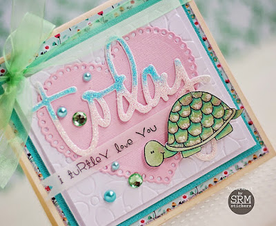 SRM Stickers Blog - Turtle Love by Michele - #clearstamps #card #janesdoodles #glitter