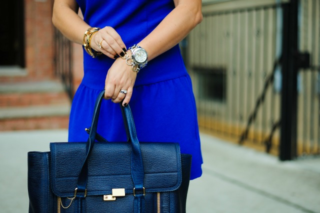 Urban Outfitters blue dress. 3.1 Phillip Lim bag. Michael Kors watch
