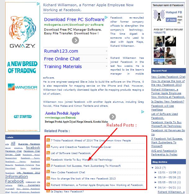cara pasang atau membuat related post atau artikel terkait pada blog