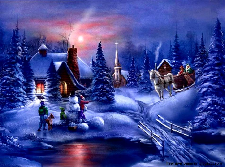 Christmas Winter Scenes Wallpaper Free Hd Wallpapers