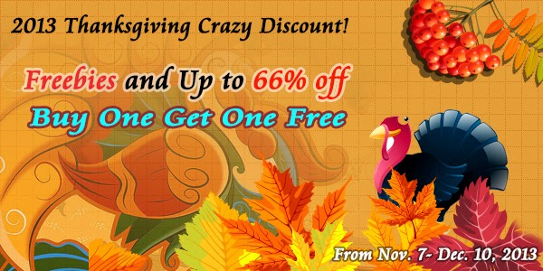 thanksgiving crazy discount 2013 Thanksgiving Special Offer: Freebies, Up to 66% off and Buy One Get One Free