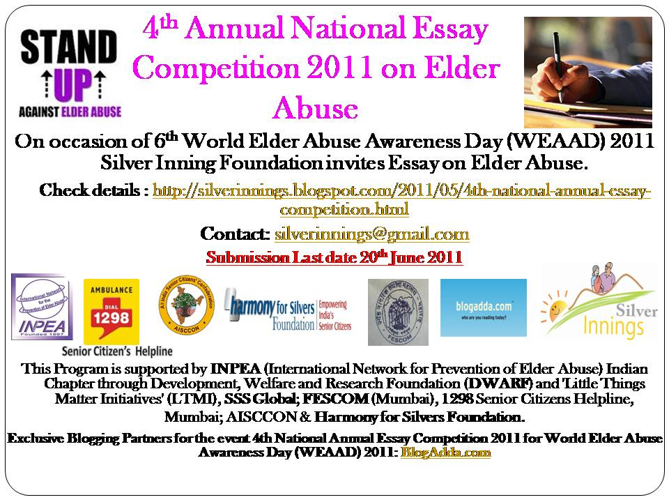 silver innings blog for senior citizens and their family th  4th national annual essay competition 2011 6th world elder abuse awareness day weaad 2011