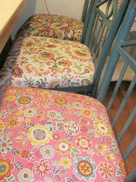 pretty floral fabric bar stools