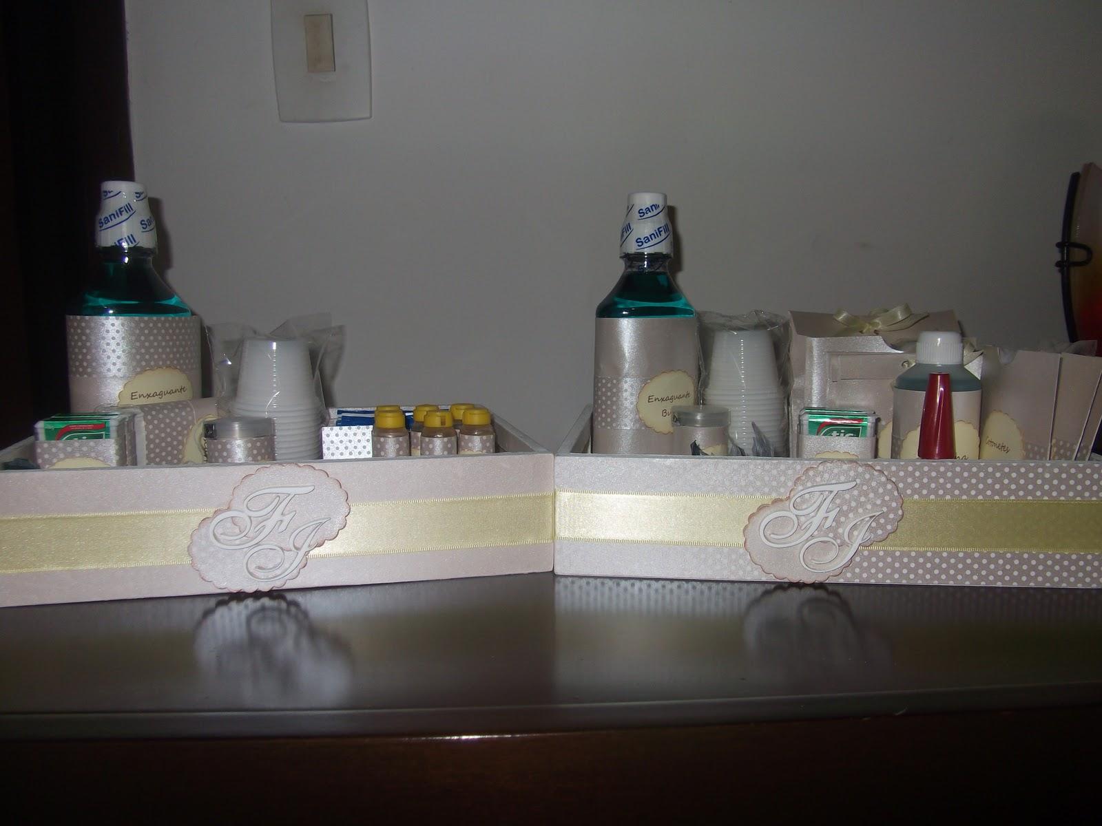 Oi gente! Fiz esses kits de banheiro para o casamento dos queridos  #3E6563 1600 1200