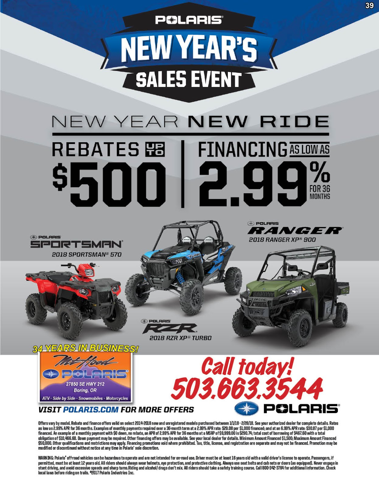Mt Hood Polaris New Years Sales Event!!