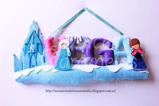 Nombre fieltro frozen, con Anna y Elsa para Vega