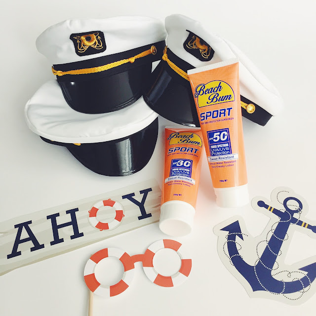 nautical party, captains hat, sunscreen flasks, how to throw bachelorette party