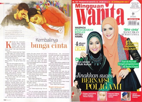 Cerpen KEMBALINYA BUNGA CINTA di majalah Mingguan Wanita
