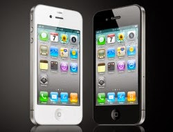 picture of black and white iphone standing next to one another