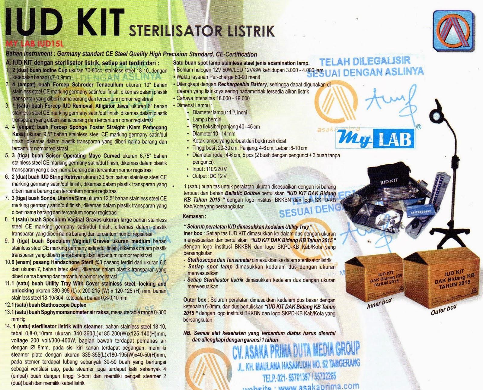 IUD Kit dengan Sterilisator Listrik  IUD KIT BKKbN