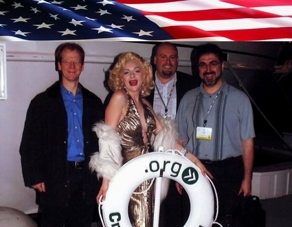 Sam Bazzi of Arcs, right, with a Marilyn Monroe look-alike at the dot-org cruise during ICANN Los Angeles 2007