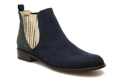 Blue suede chelsea boots