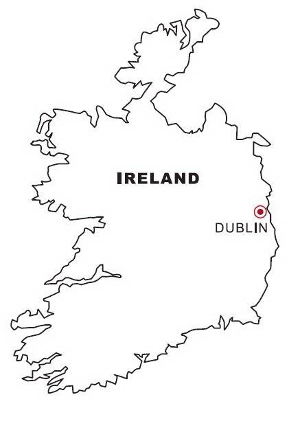 COLOREA TUS DIBUJOS Mapa de Irlanda para colorear