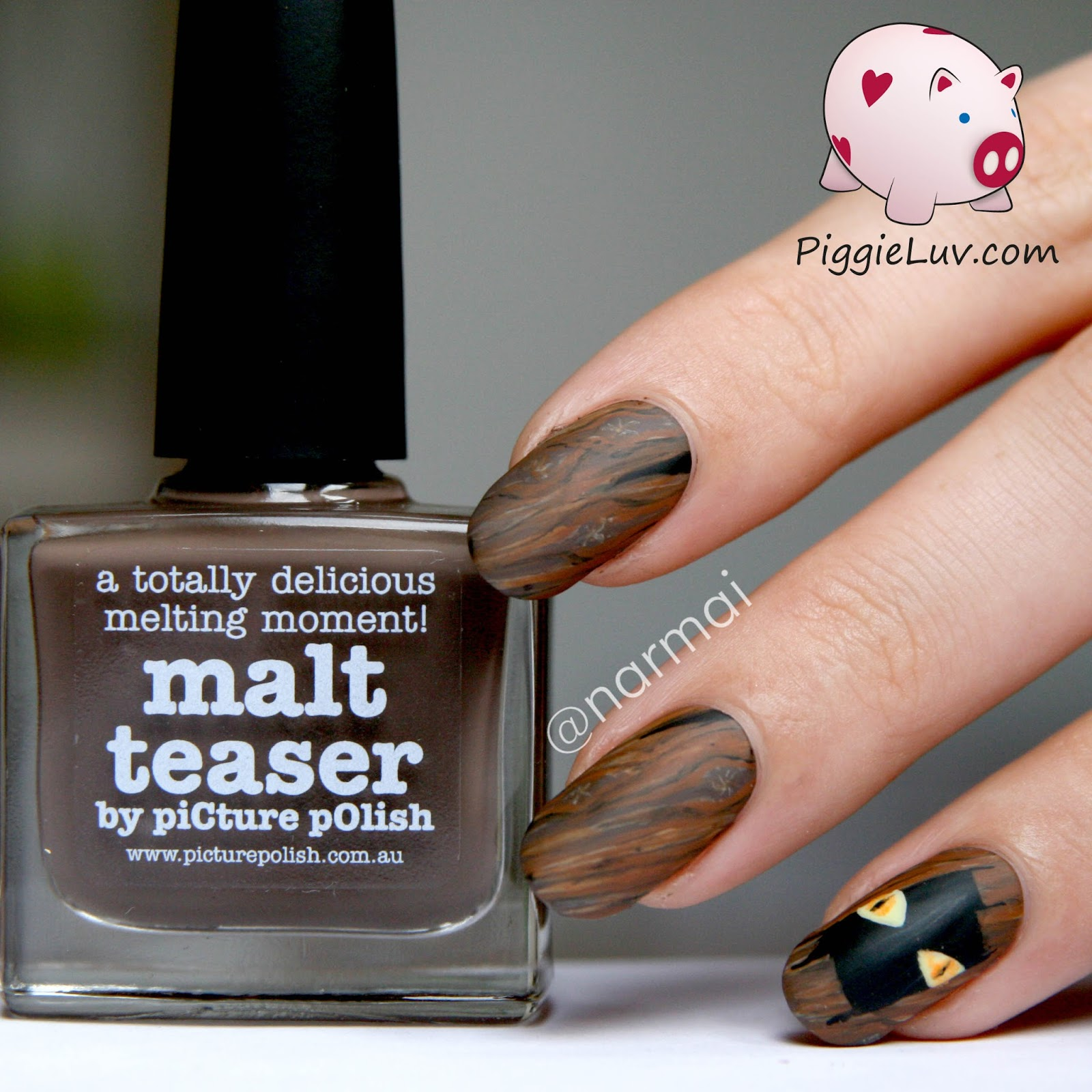 Piggieluv creature lurking from a dark hole halloween nail art heres how to make these step by step apply your base color and let it dry thoroughly start painting some lines in different shades of brown prinsesfo Image collections