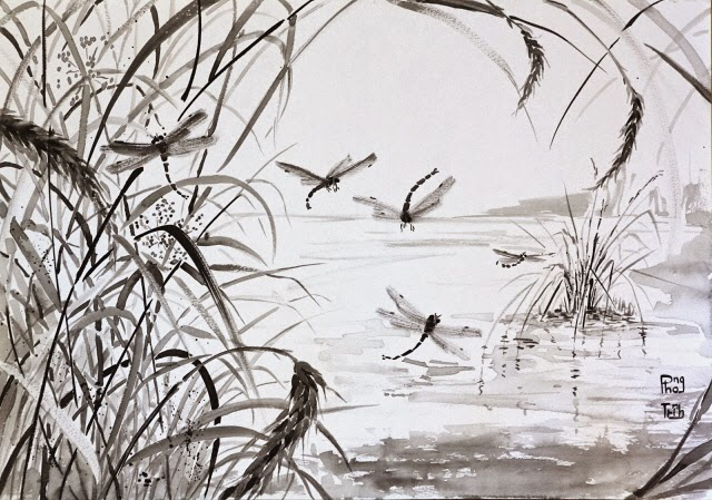 Unique Black Grey and white watercolor painting nature, plants and insects, swamp, 29.5x42cm