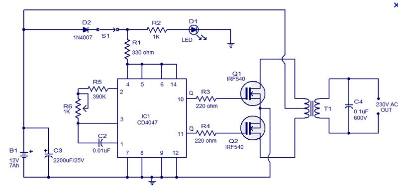 Rangkaian Inverter Dc 12 V To Ac 220 V 100 W