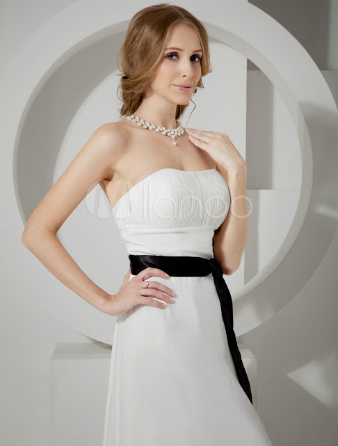 China Wholesale Homecoming Dresses - Romantic White Strapless Satin Sash Pleated Bow Chiffon Homecoming Prom Dress
