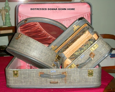 suitcases, metal letters, lace, tablecloths, shoe forms, turquoise dresser