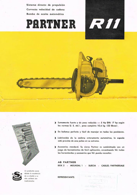 Folleto publicitario de la motosierra Partner R11 de 1963 - Vintage Advertising Partner R-11 Chainsaw